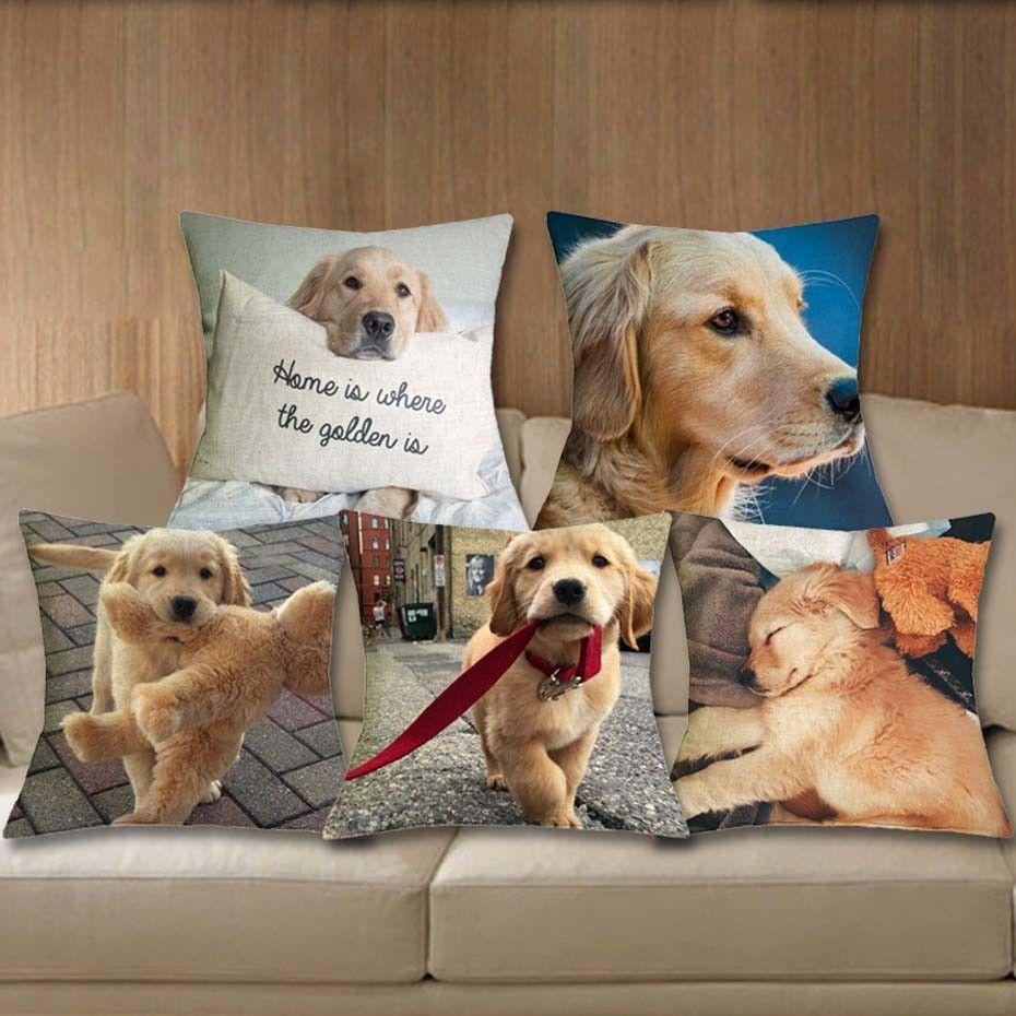 2 99 Cushion Cover Golden Retriever Linen Pillows Dog Printed