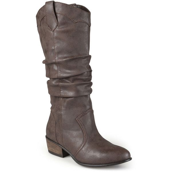 Journee Collection Drover Wide Calf Slouch Womens Riding Boots ($78) ❤  liked on Polyvore