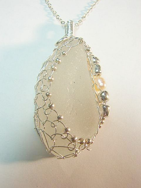 Photo of Sea glass necklace.