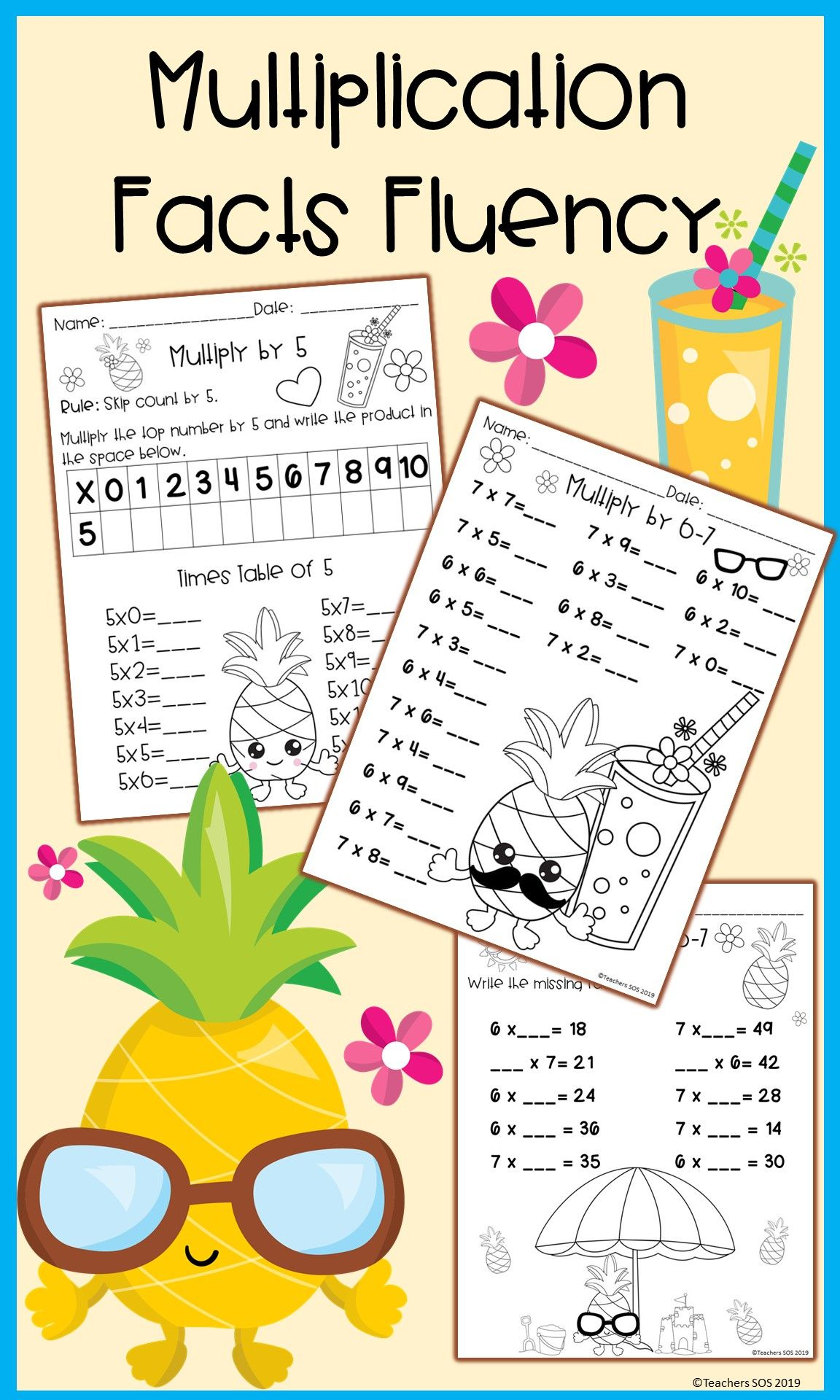 Distance Learning Multiplication Facts Worksheets In