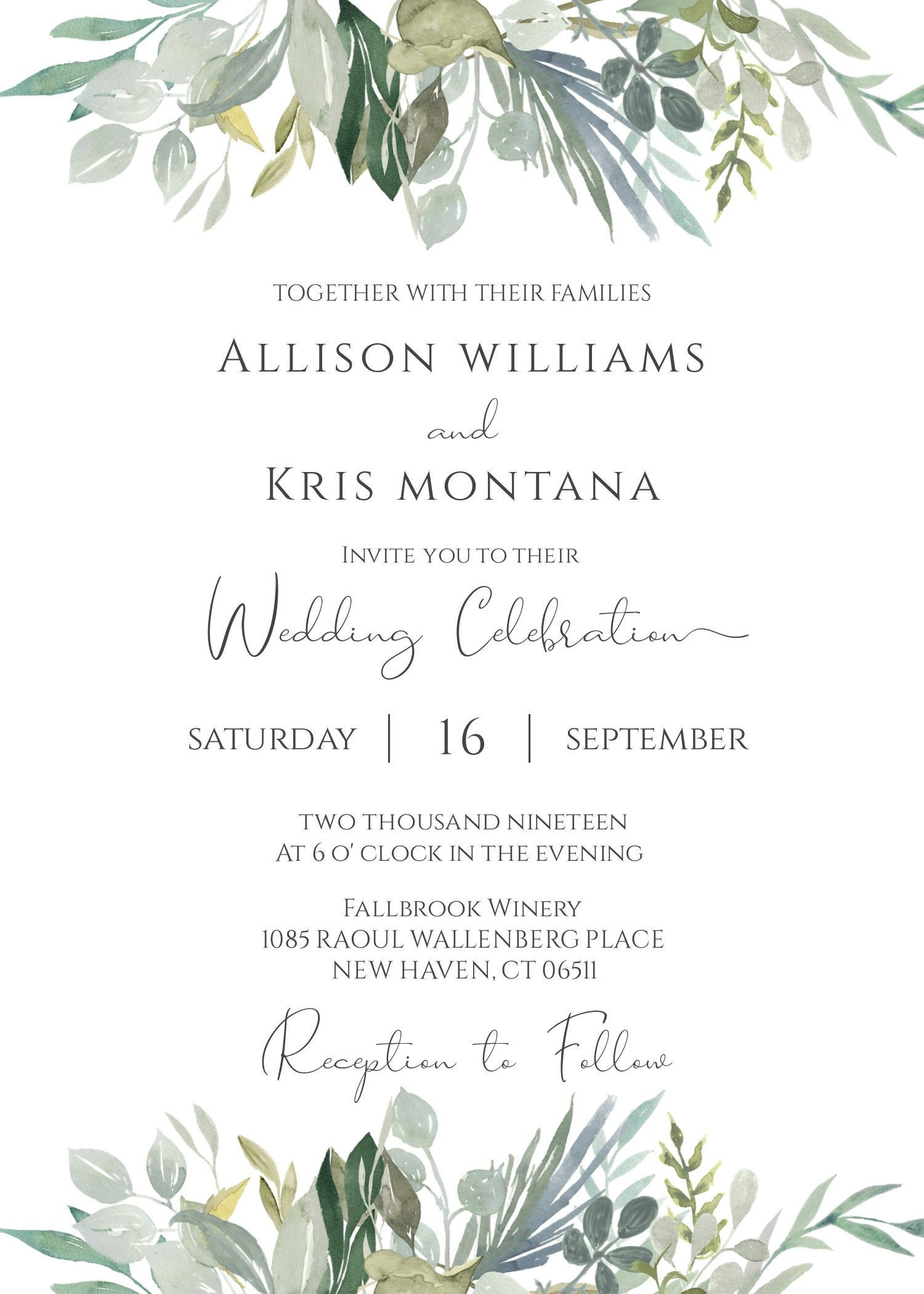 Greenery Wedding Invitation Template DIY Printable | Etsy