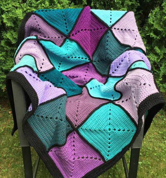 Purple and Teal Basic Granny Square Patchwork Crochet Afghan ...