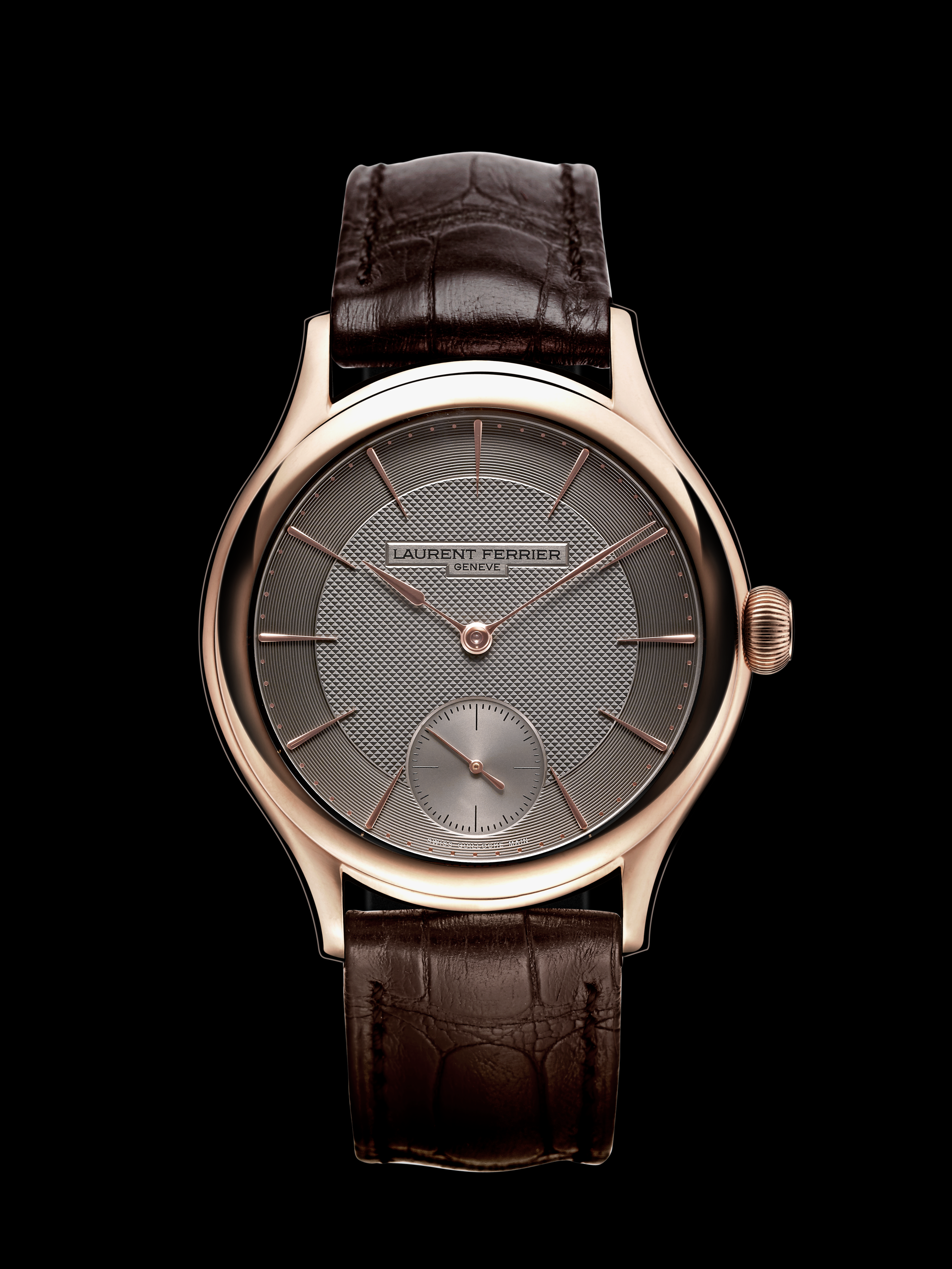 silver toned dial with hand guilloché clous de paris motif vector