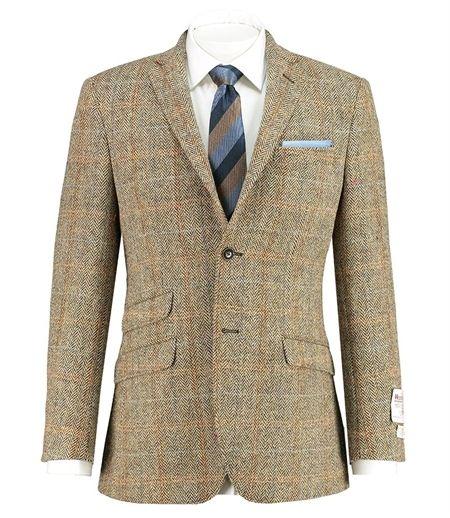 Men's Brown & Orange Check Harris Tweed Jacket – 100% Scottish ...