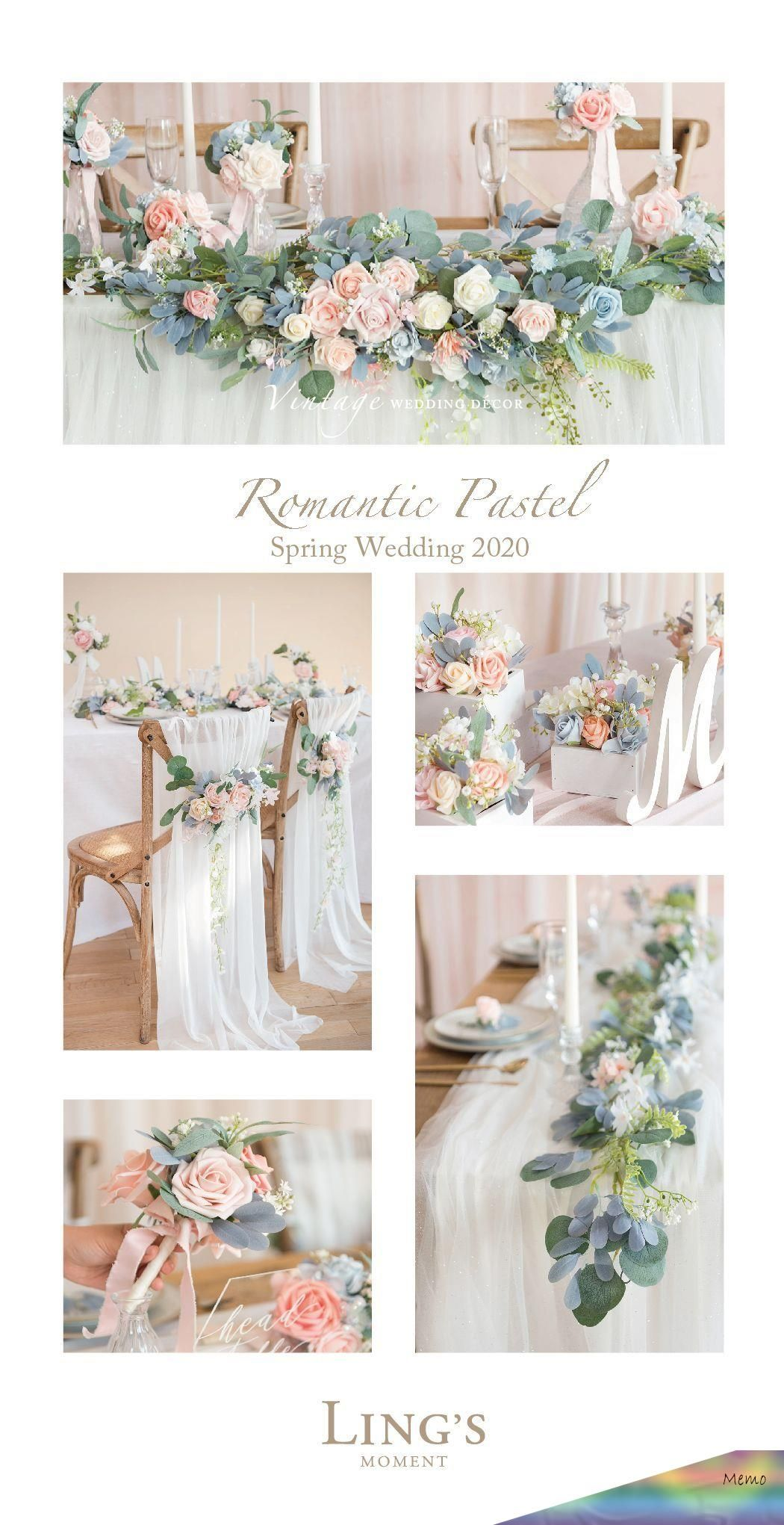 Photo of Apr 23, 2020 – Romantic Pastel Floral Garland For Spring Wedding 2020, 10% Off F …