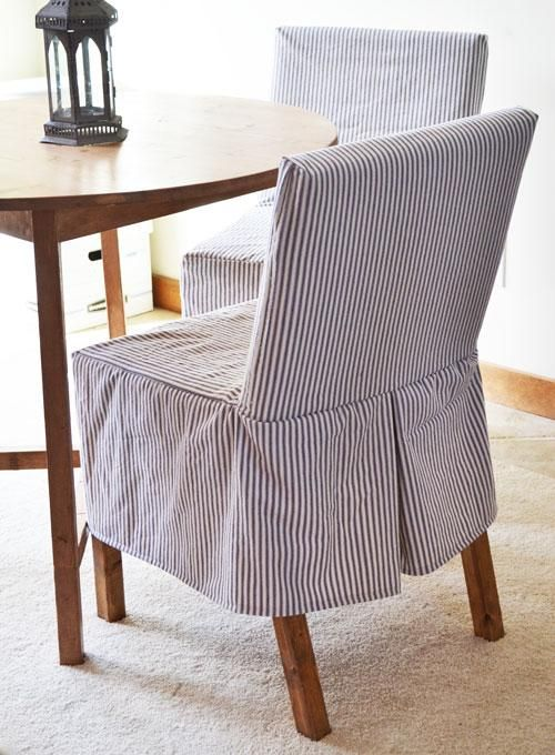 Nice Easiest Parson Chair Slipcovers, A Blue Stripe Would Look Nice