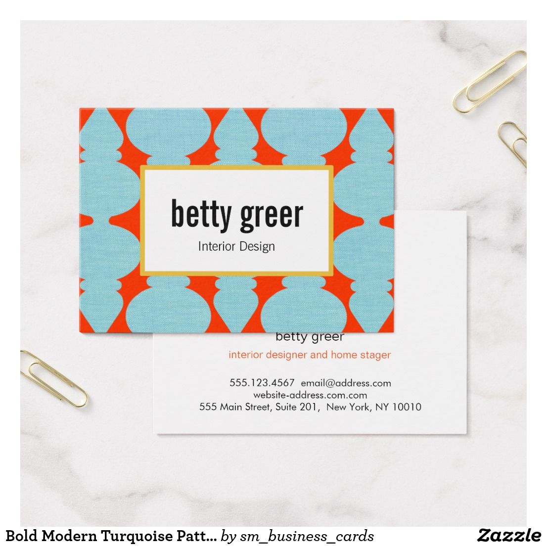Bold modern turquoise pattern interior designer business card bold modern turquoise pattern interior designer business card reheart Images
