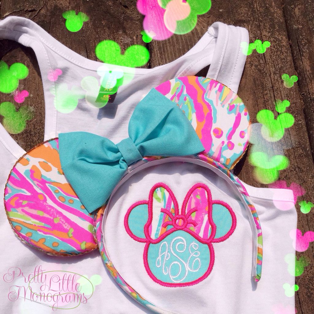 Lilly Pulitzer Fabric Minnie Mouse Monogram Tank Top With Lilly Pulitzer Fabric