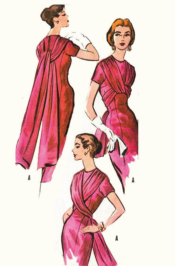 1950s vintage sewing pattern evening cocktail sheath dress 4 way ...