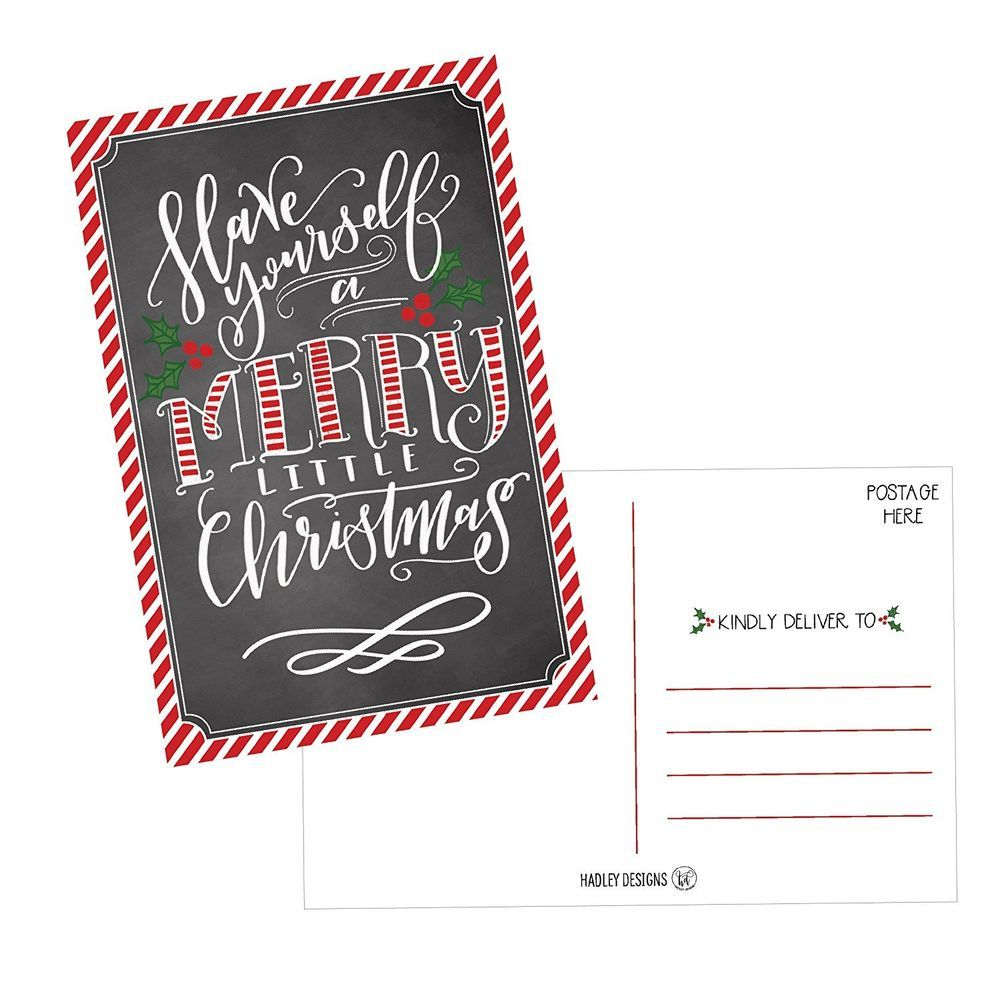50 Mistletoe Merry Xmas Holiday Greeting Cards Blank Winter
