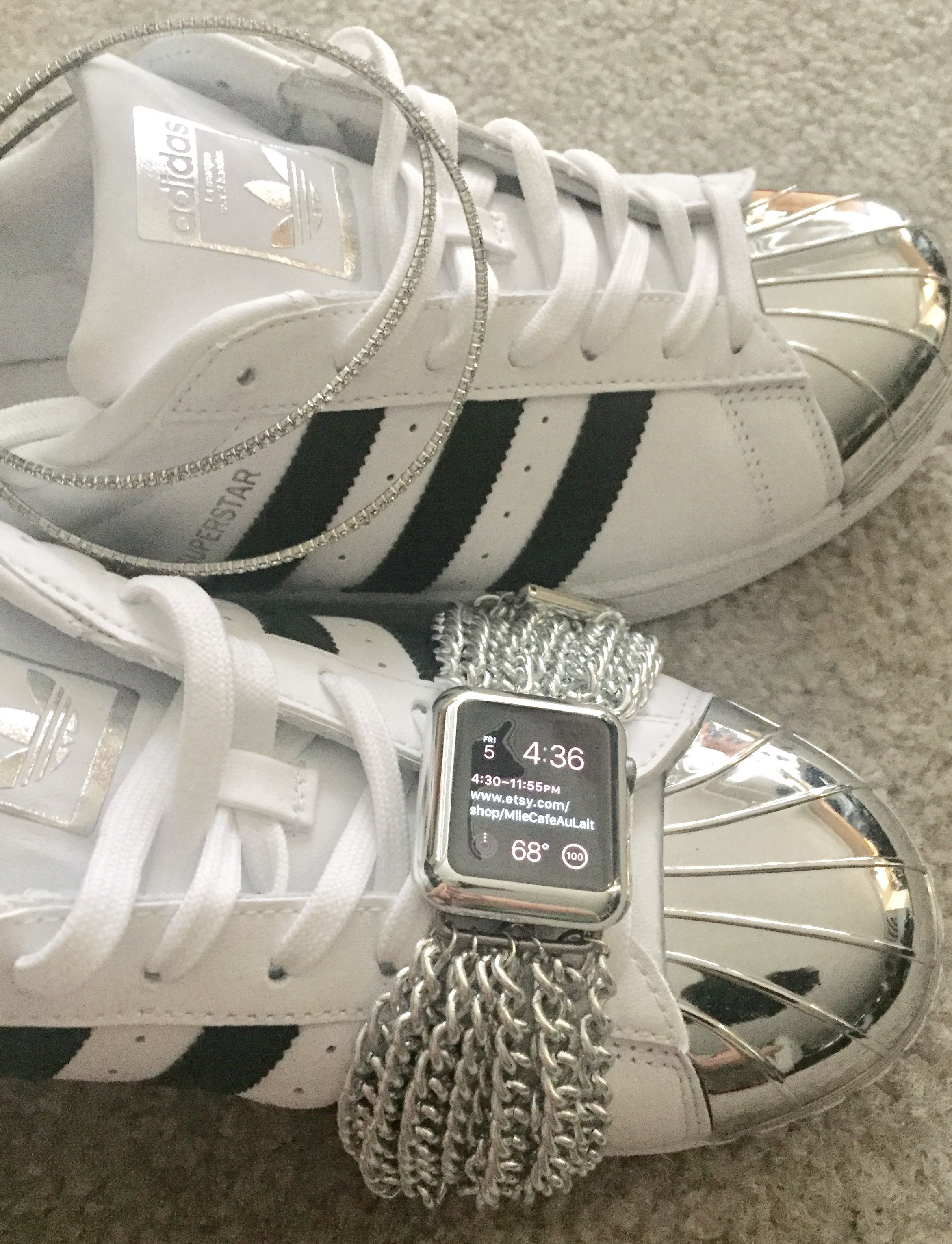 super popular 4897c 52026 (Apple watch chain link silver band and Adidas Metal toe superstar)