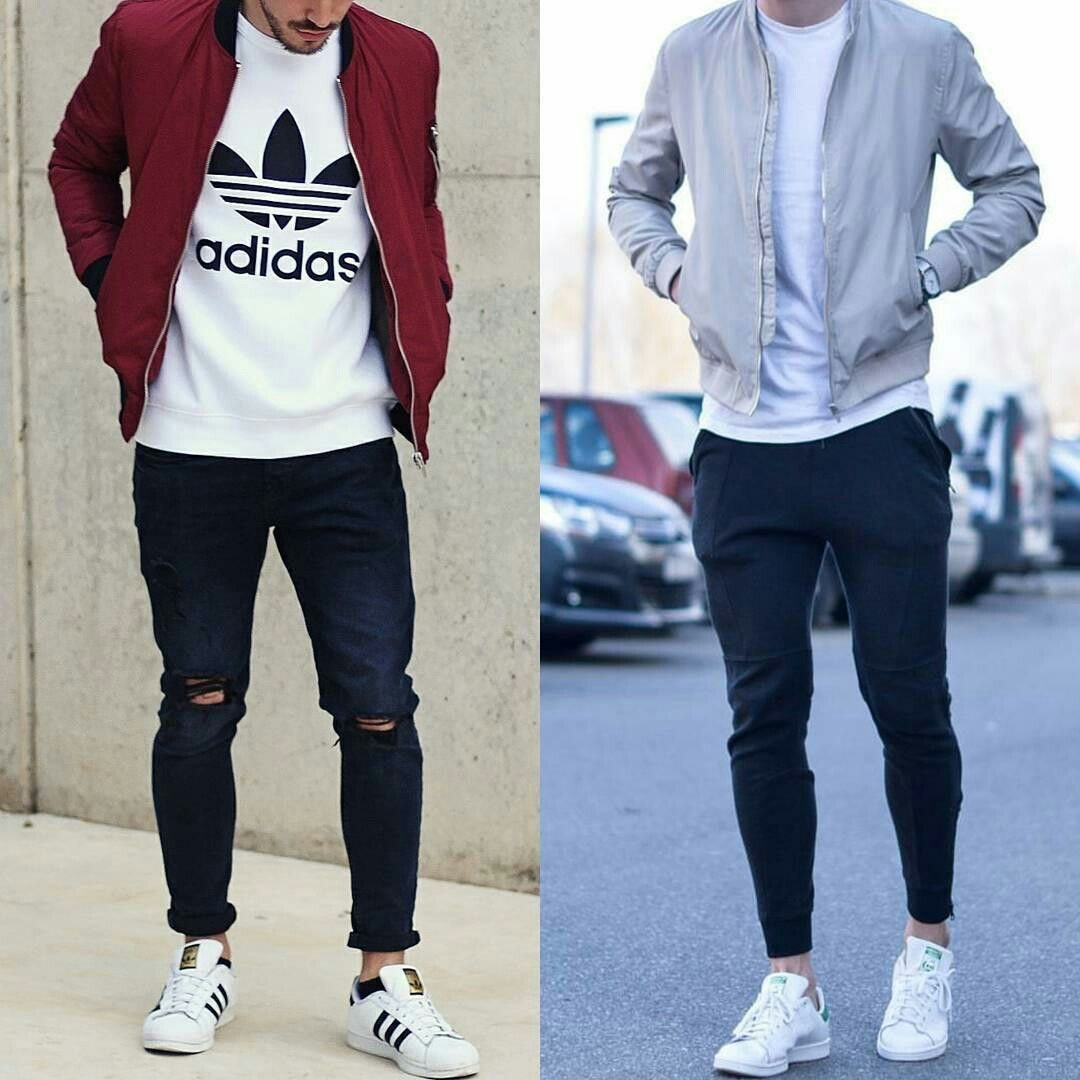 Bomber jacket t-shirt white sneakers | Efashion | Pinterest | White sneakers Man style and ...
