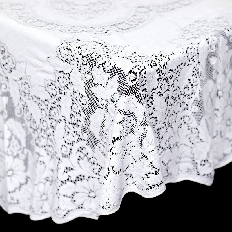 Angie Oval Tablecloth: White Oval Crochet Lace Tablecloth Measures 55 X 66.