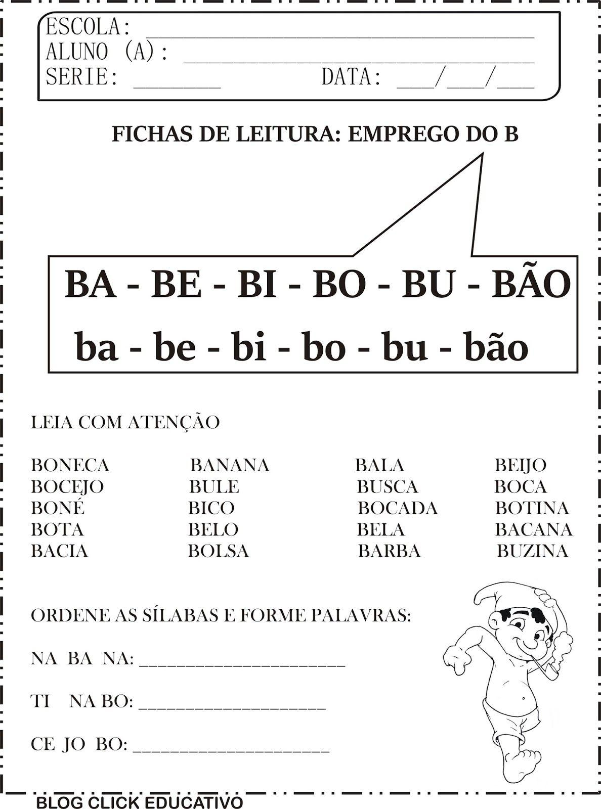 Fichas De Leitura Familias Silabicas Para Imprimir Em 2020