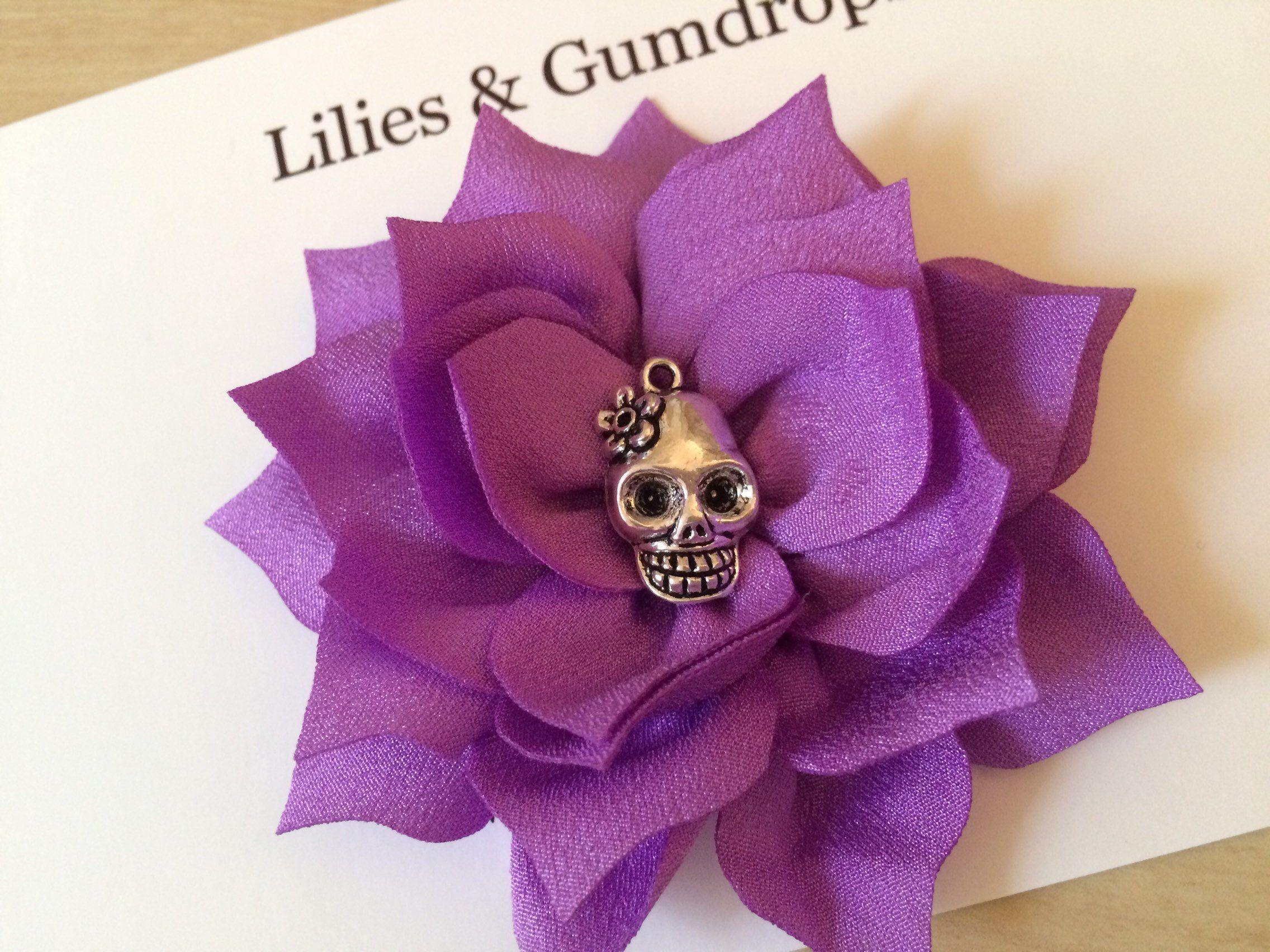 Skull Hair Flower Purple Hair Flower Day of the Dead Hair