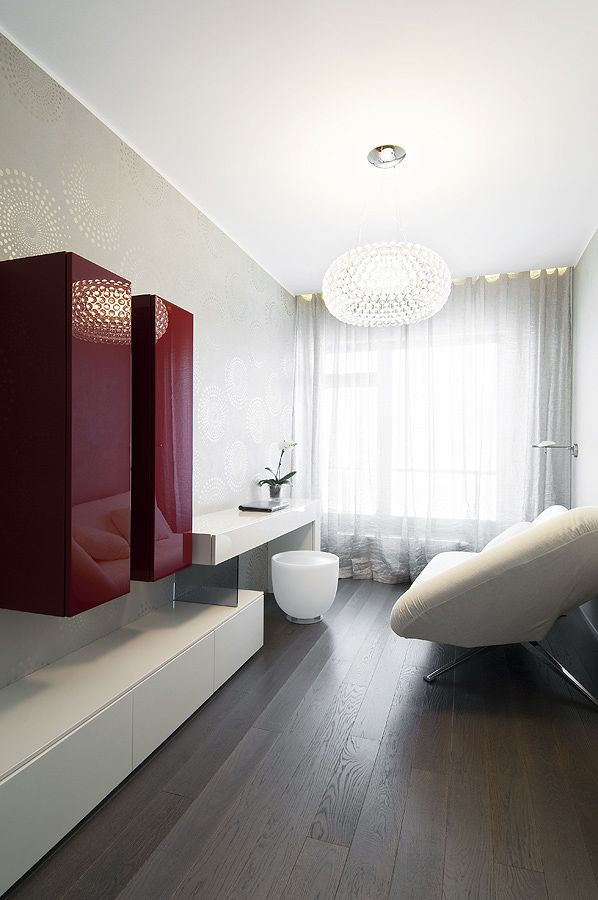 Apartment, White Curtain Pendant Lamp Brown Wooden Laminate Floor Ottoman Wall  Cabinet Glass Window Desk