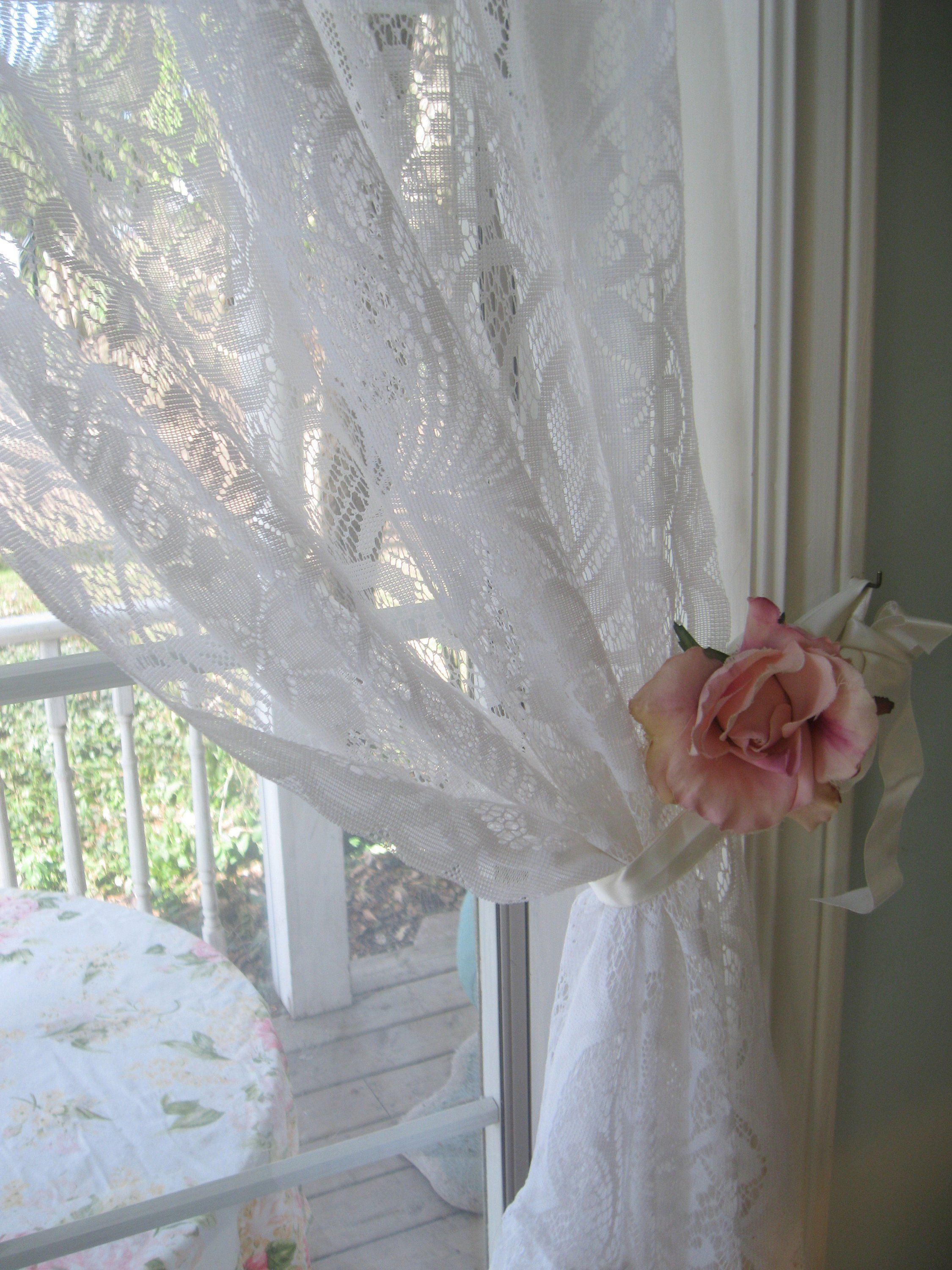 Frilly Bottom White Lace Curtain Transparent Curtain Panel 38