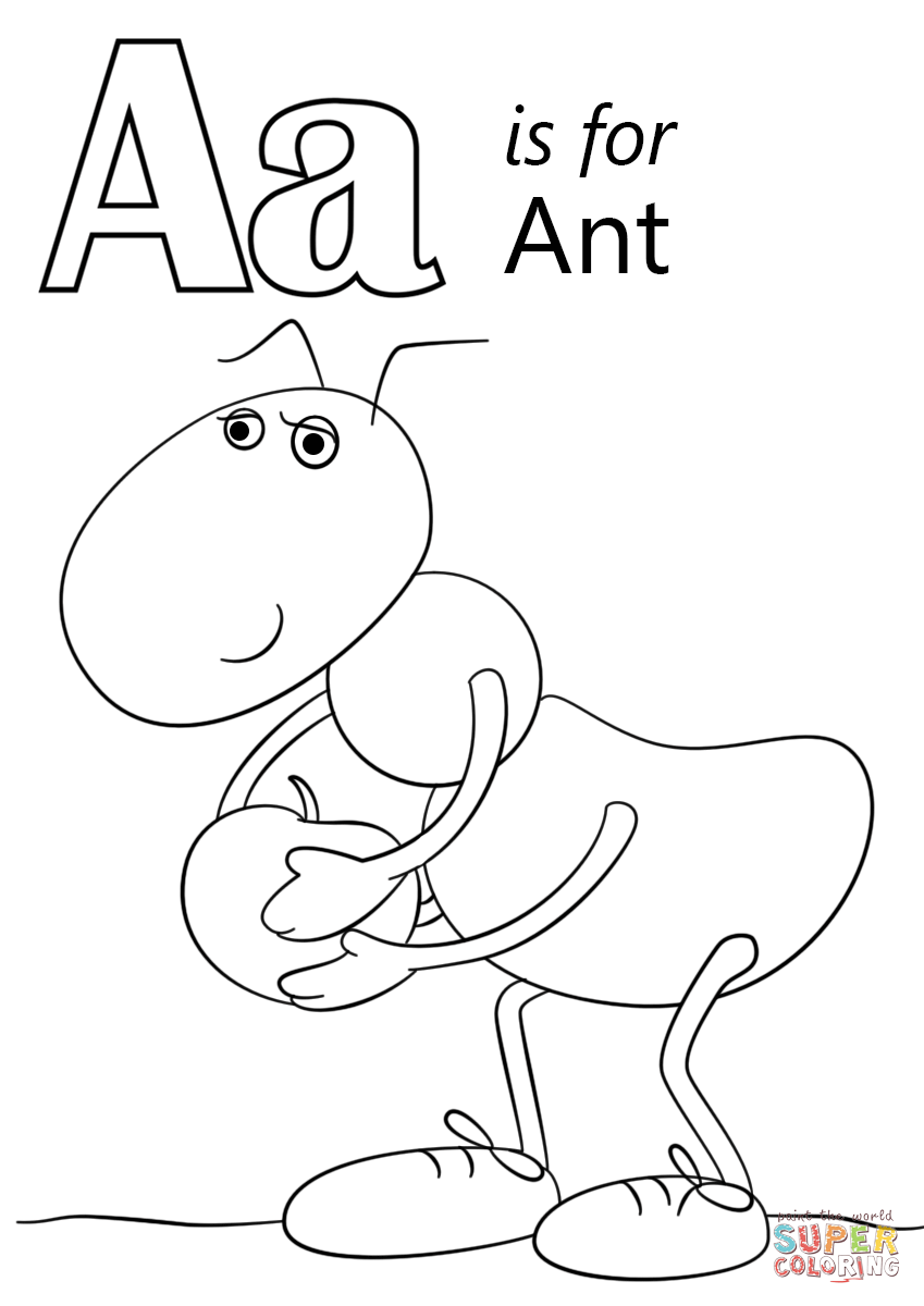 Letter a is for ant coloring page free printable coloring pages