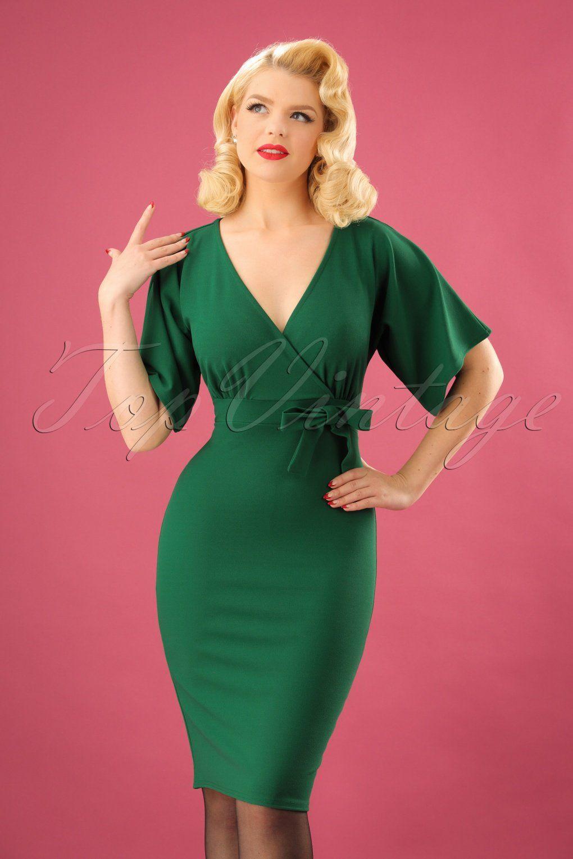 d1accc7df9ef 50s Lauren Kimono Pencil Dress in Emerald Green in 2019 | Gowns ...