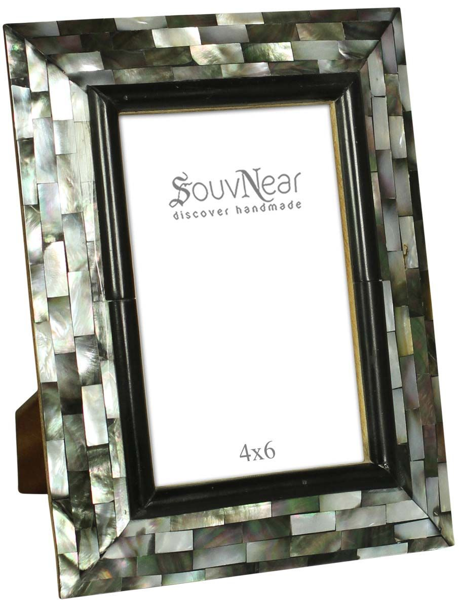 Bulk Source Rectangular 4x6 Photo/Picture Frame in MDF & Mother of ...