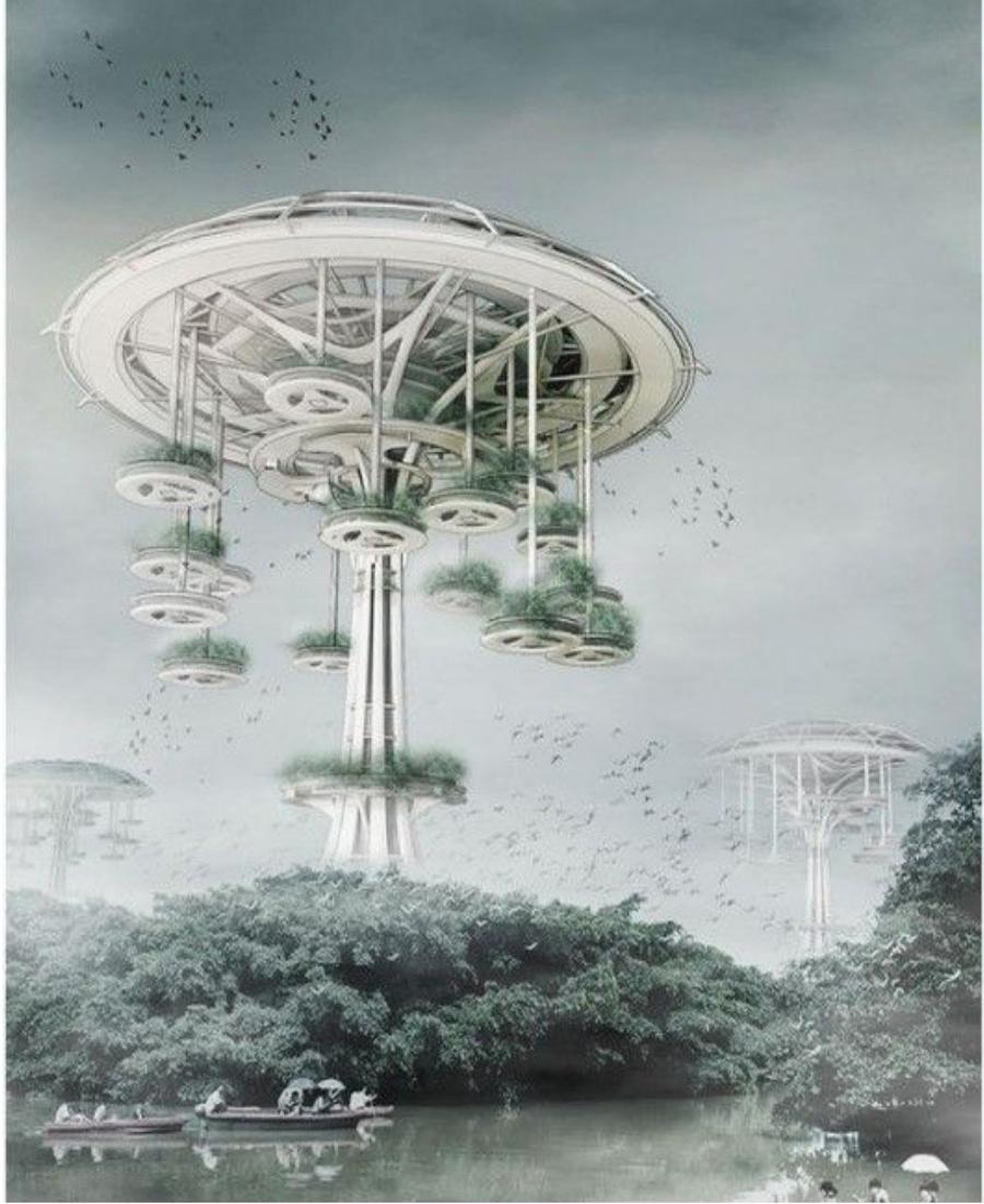 Amazing Architecture Magazine: Floating Waterfront Village Trees Of Life Yi Wang