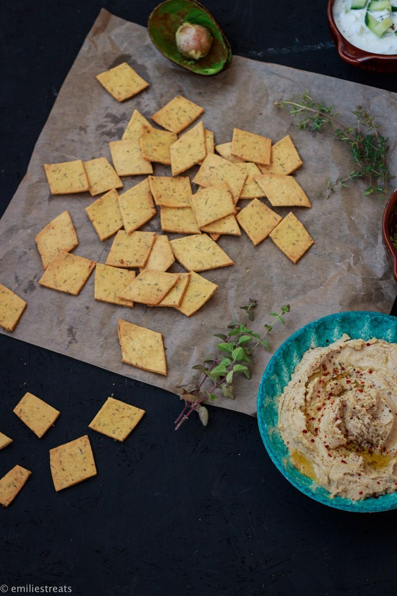 Chickpea flour cracker with three types of dips -  Chickpea flour cracker with three types of dips