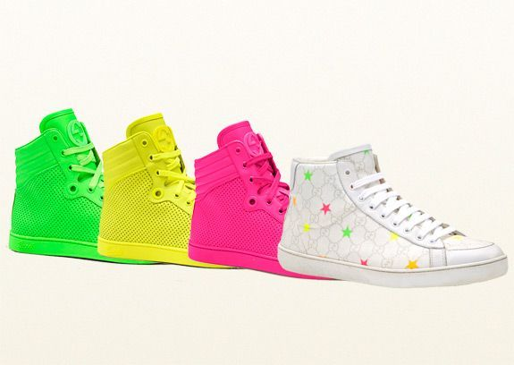 811b2f996a7 Neon Leather   Gucci GG Supreme Stars Canvas High-Top Sneakers by ...