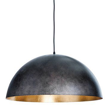 Check out this item at One Kings Lane! Large Sigmund Dome Pendant, Black/Gold