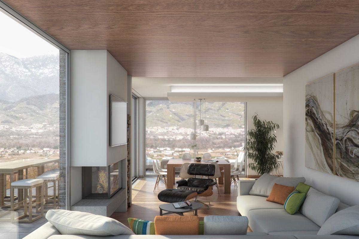 Render di salotto / zona relax moderna con vista sulle montagne ...