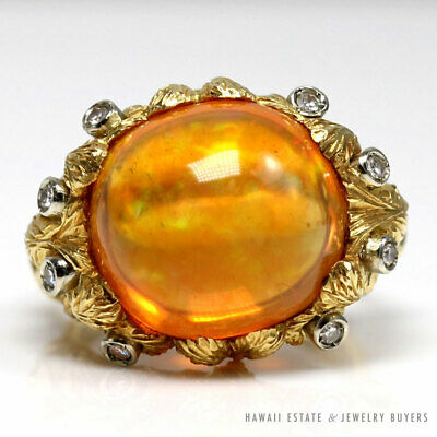 Vintage 10 43ct Mexican Orange Opal Diamond Floral 18kyg Ring W Appraisal In 2020 Jewelry Buyers Opal Opal Jewelry