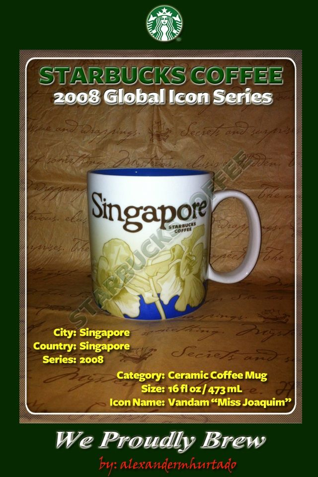 2008 Starbucks Global Icon Series City Mug Singapore Vandam