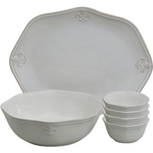 Better Homes And Gardens Country Crest 6 Piece Serveware Set, Cream