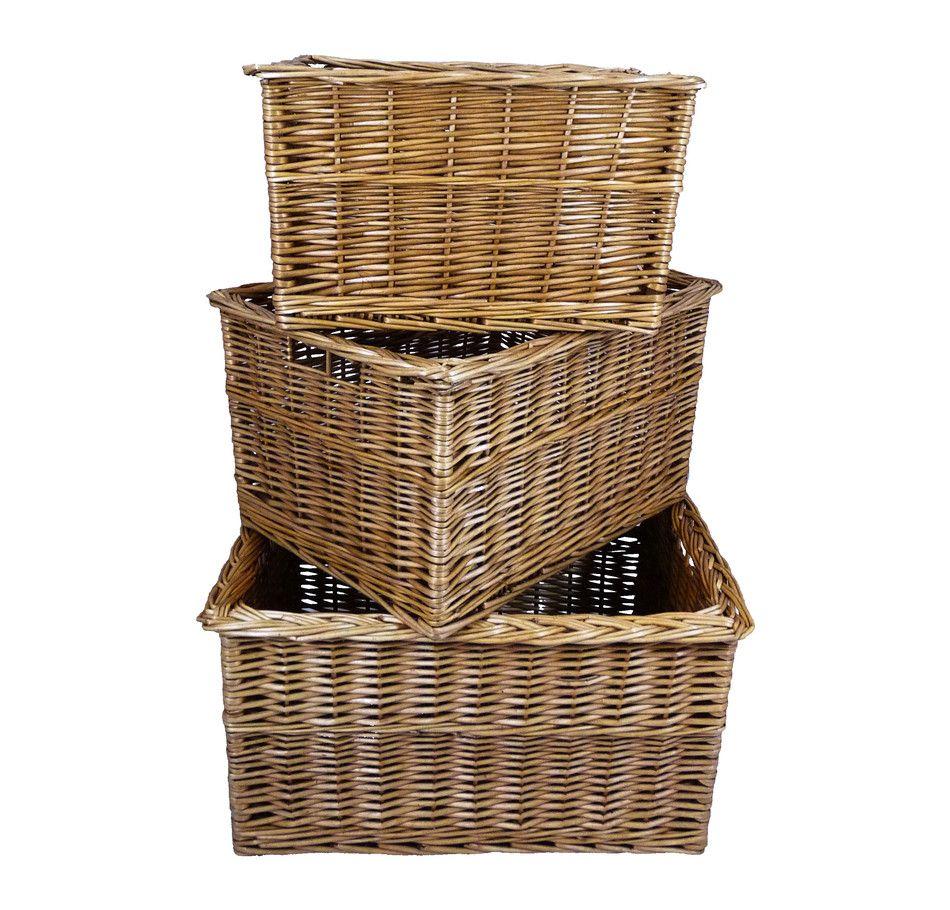 Wicker storage basket home storage baskets melbury rectangular wicker - Wicker Rectangular Full Honey Wicker Deep Storage Basket