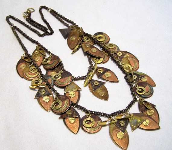 Vintage Tribal Steam Punk Mixed Metal Charm Necklace Brass