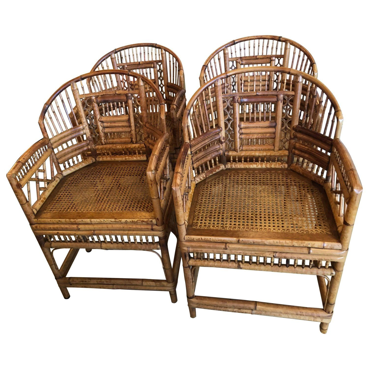 Set Of Four Rattan Bamboo Brighton Arm Dining Chairs Chinese Chippendale Chippendale Chairs Bamboo Dining Chairs Bamboo Chair
