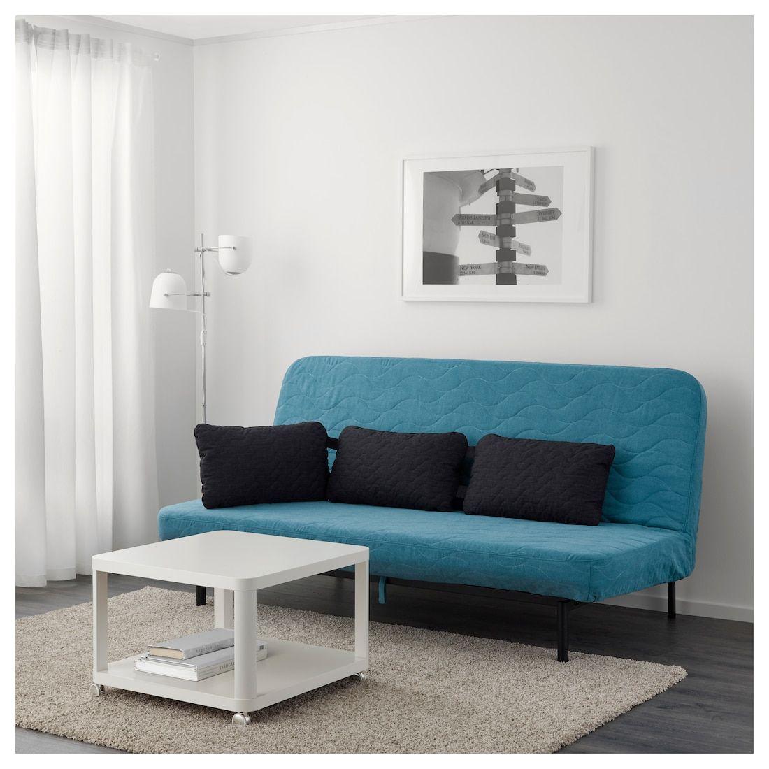 Nyhamn Convertible Clic Clac 3 Places Avec Matelas En Mousse Borred Vert Bleu Ikea Matelas En Mousse Meuble Canape Meuble