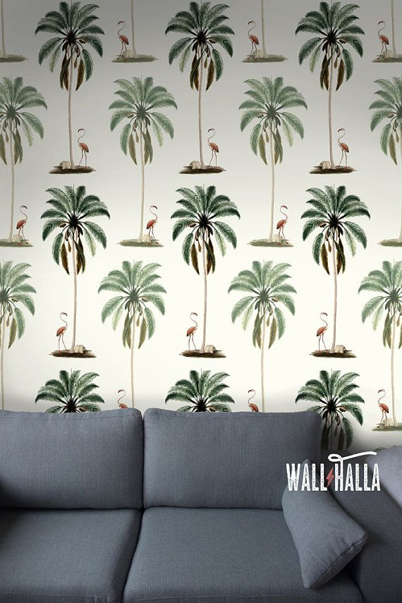 Seamless Self Adhesive Palm Tree Flamingo Pattern Wallpaper Removable Vintage Wall Decals Stickers Wallpapers