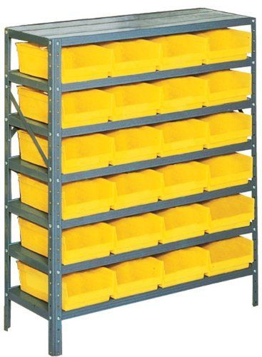 Edsal Pb311 Industrial Gray Heavy Duty Steel Boltless Shelving Storage Rack With 24 Poly Plastic Bins 36 Small Parts Storage Steel Storage Rack Plastic Bins