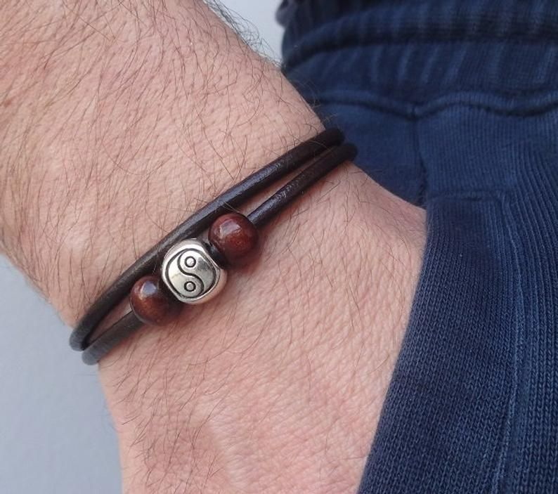 Photo of yin yang bracelet, yin yang leather bracelet, mens leather bracelet, Yin Yang Jewelry, Tai Chi Bracelet, best friend bracelet, tao zen yoga