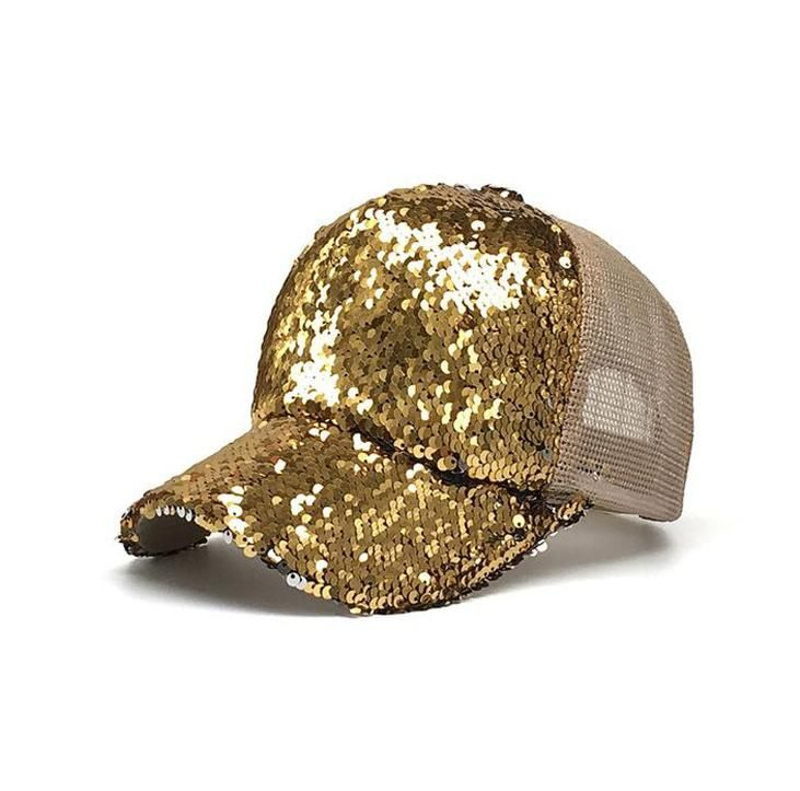4c62e61481485 Gold Sequin Bling Baseball Cap