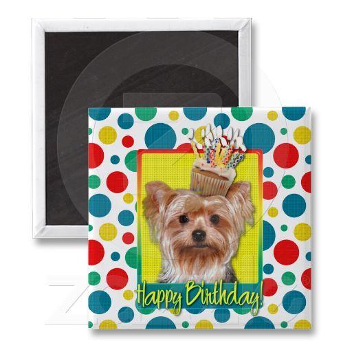 Birthday Cupcake - Yorkshire Terrier Refrigerator Magnets