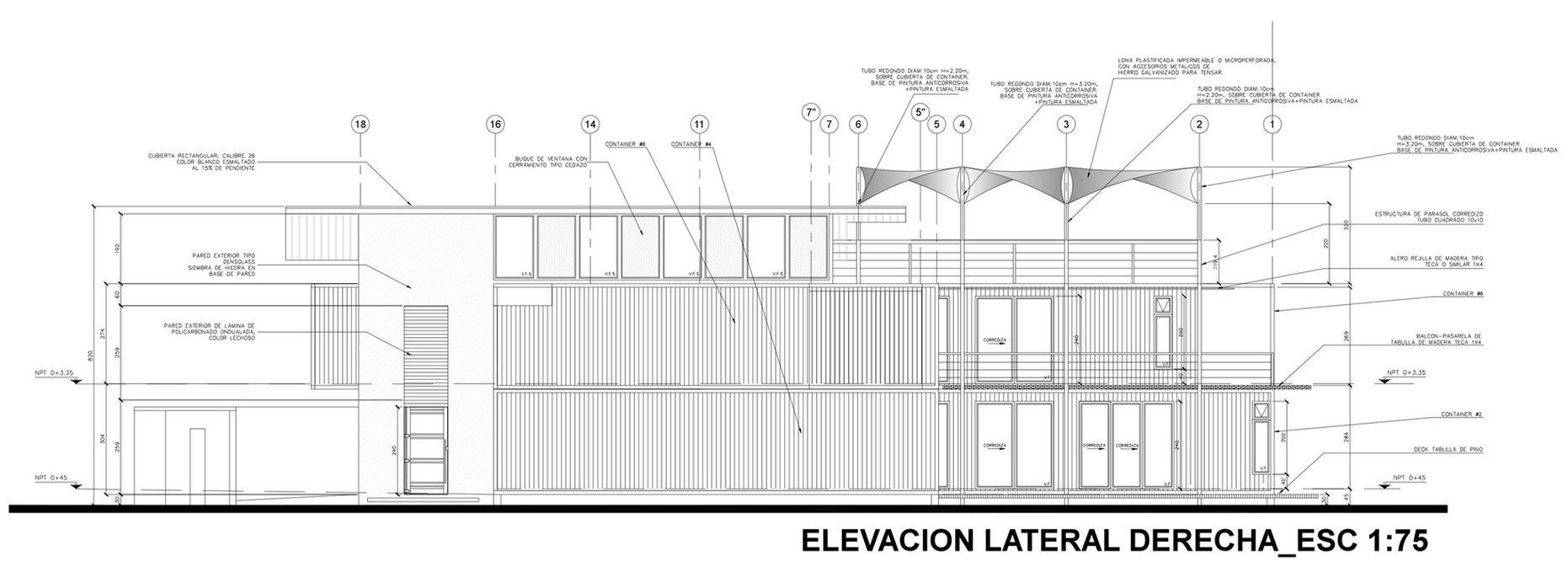 Plano de fachada lateral derecha
