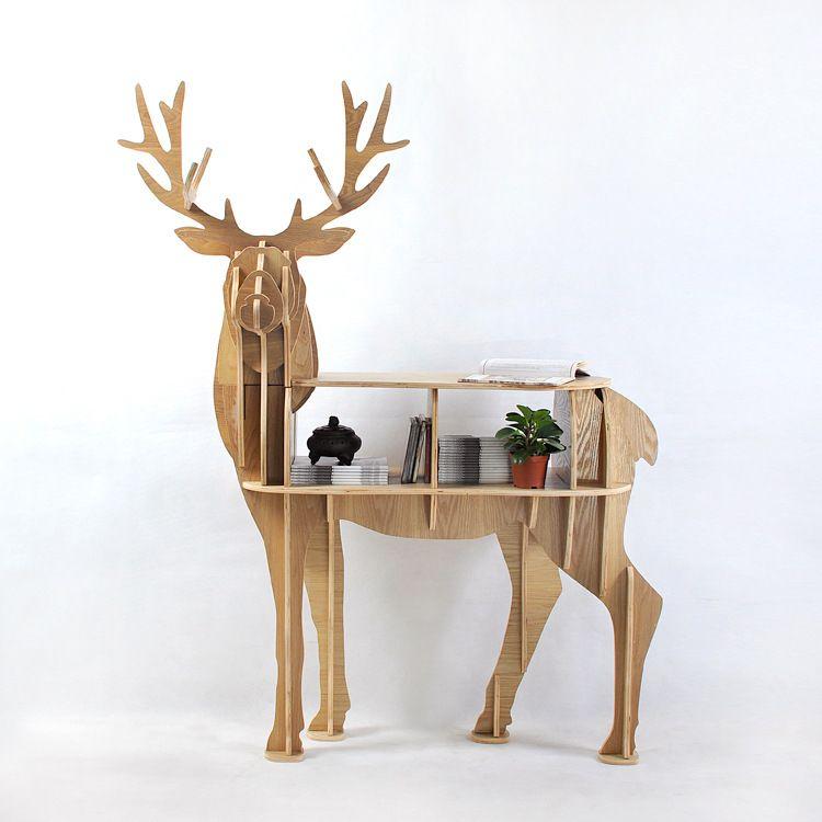 Pas Cher Nouveau Design Europeen 100 Bouleau Bois Elk Bord Table Cerfs Forme Meubles Animal Rack Table Basse Peinte Decoration Europeenne Acheter Table Basse