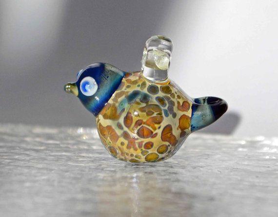 Little bird borosilicate glasspendant Boro 29 by leveloindigo