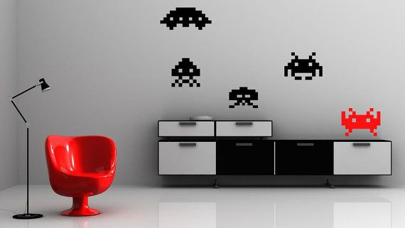 Space Invaders Video Game Alien - Vinyl Wall Decals (small) Wall