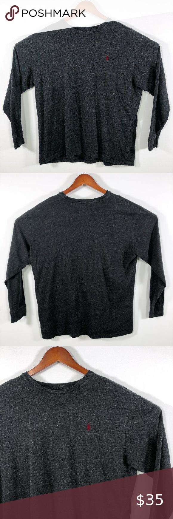 Polo Ralph Lauren Heather Grey Crewneck T Shirt Xl In 2020 Clothes Design Long Sleeve Tee Shirts Polo Ralph Lauren