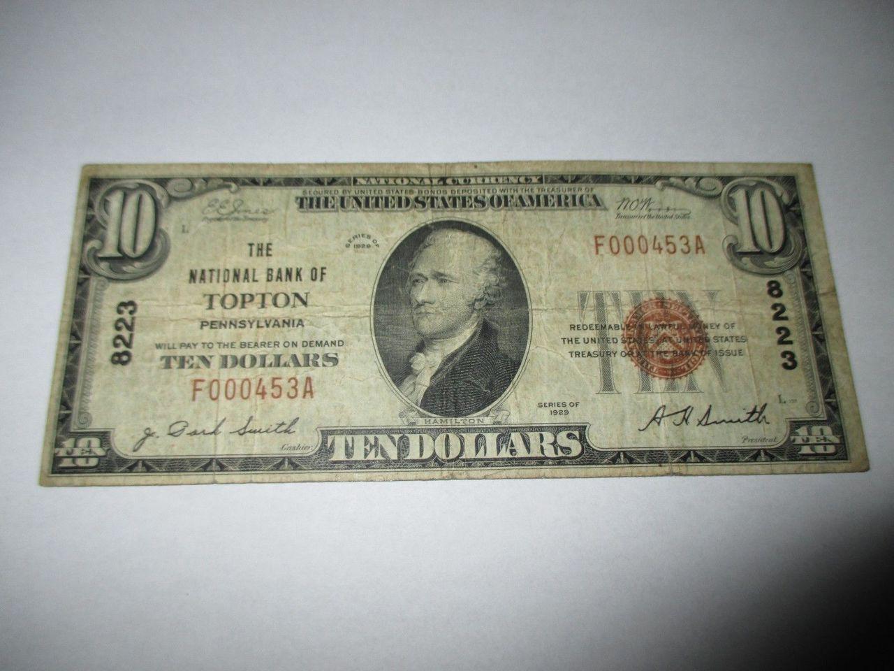 10 1929 topton pennsylvania pa national currency bank
