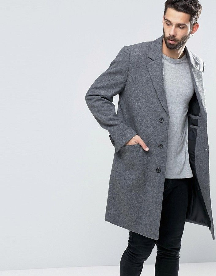 best supplier high fashion special sales ASOS Wool Mix Overcoat In Light Gray Marl in 2019 | Mens ...