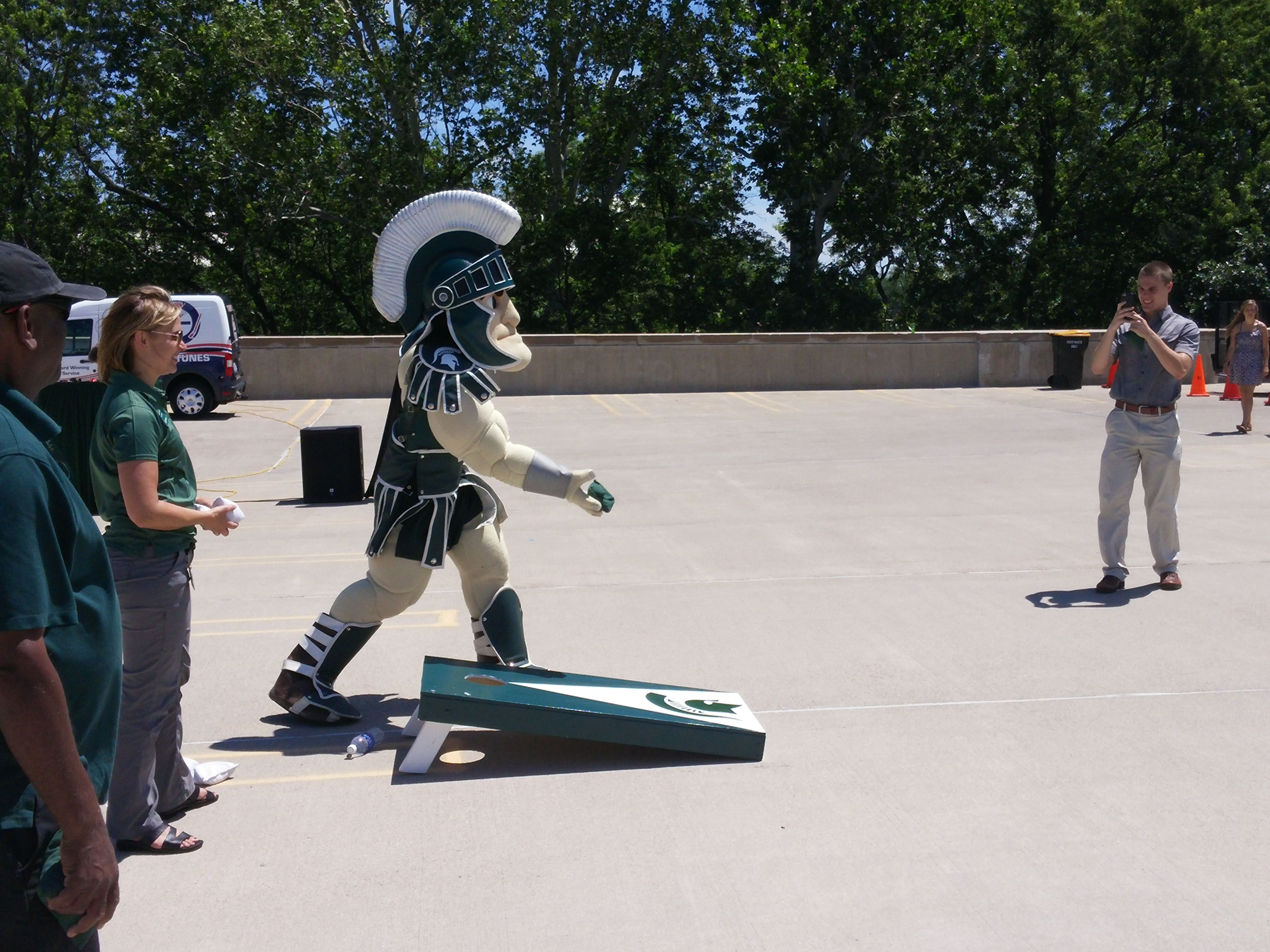 Sparty had a great time playing cornhole at today's RHS picnic!