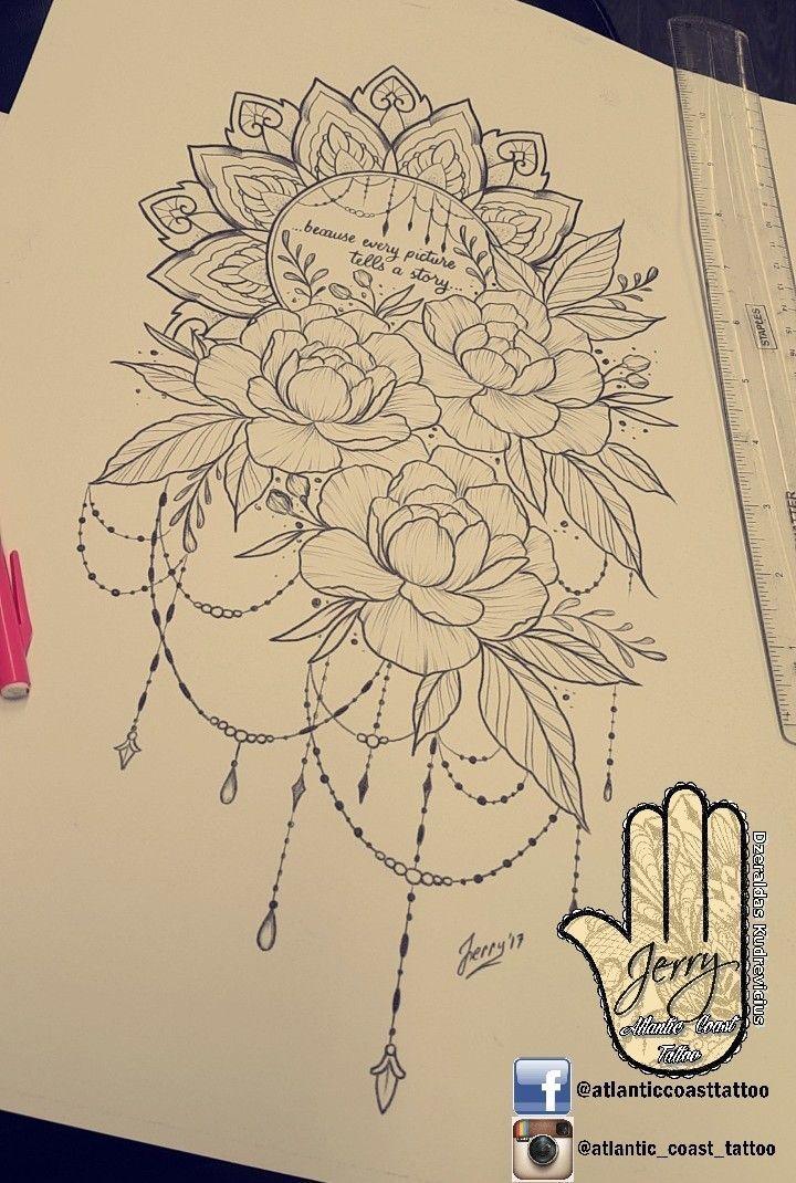 Photo of Beautiful tattoo idea design for a thigh peony flower rose tattoo. Mandala Lotus …,  #Beaut…